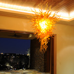 amber art glass crystal chandelier