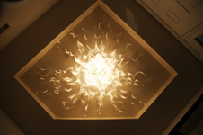 flush mounted art glass crystal chandelier